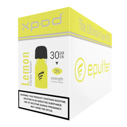 xpod lemon fusion vape pod 30-pack cartridges