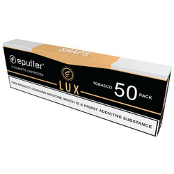epuffer snaps electronic cigarette lux tobacco cartridges 50 pack